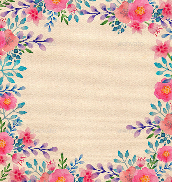 Watercolor Floral Frame - Miscellaneous Backgrounds