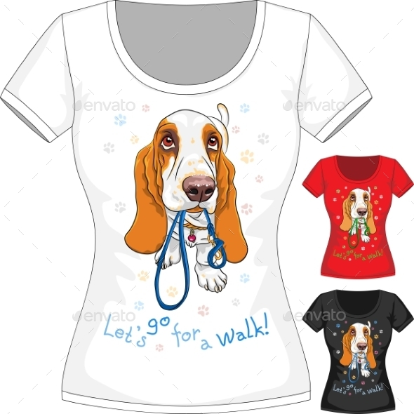 T-Shirt with Basset Hound - Animals Characters
