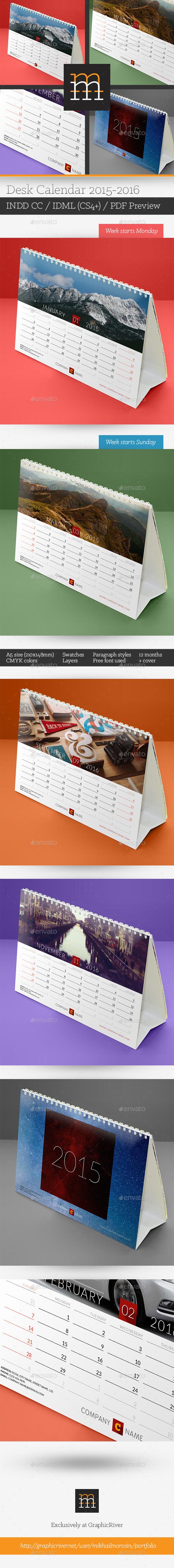 Desk Calendar 2015-2016 - Calendars Stationery