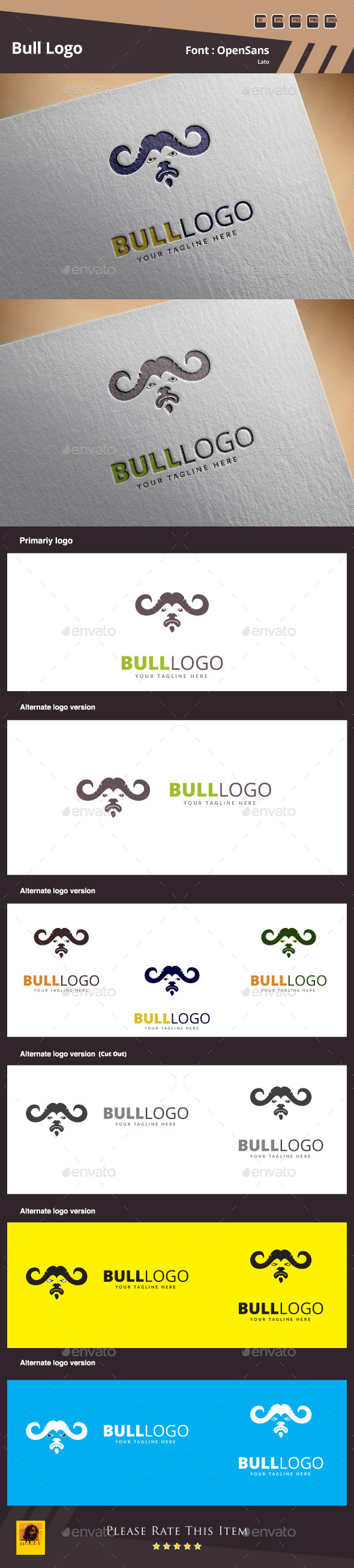Bull Logo Template - Animals Logo Templates