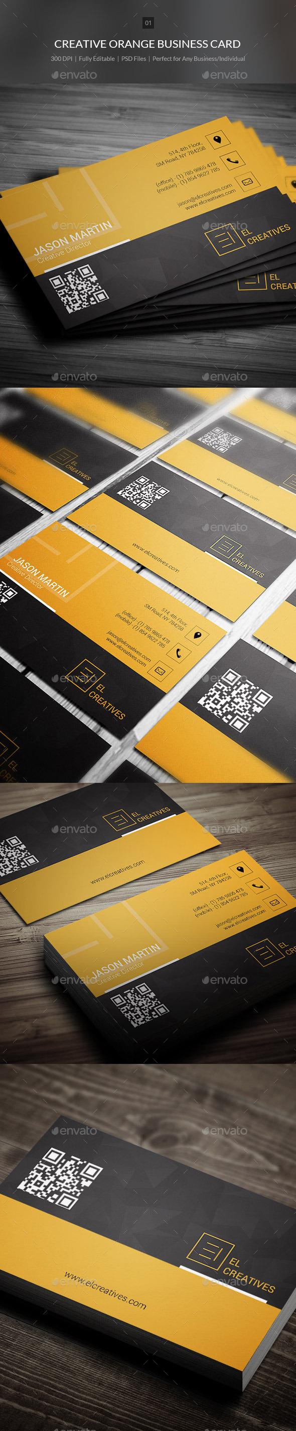 Creative Orange Business Card - 01 - Creative Business Cards