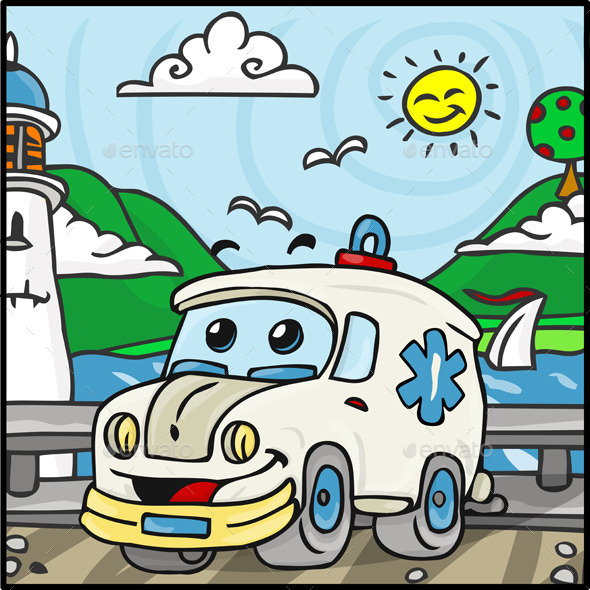 Cartoon Ambulance Character with Lake Background - Miscellaneous Characters