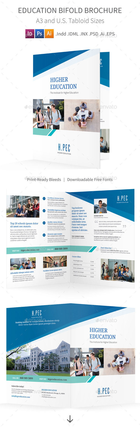 Education Bifold / Halffold Brochure - Informational Brochures
