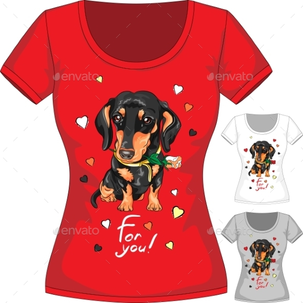 T-Shirt with Dachshund and Flower - Man-made Objects Objects