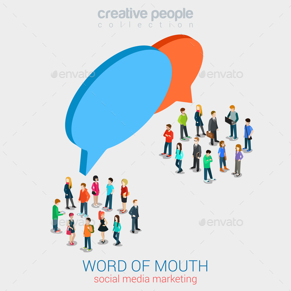 Social Marketing Word of Mouth Gossip - People Characters