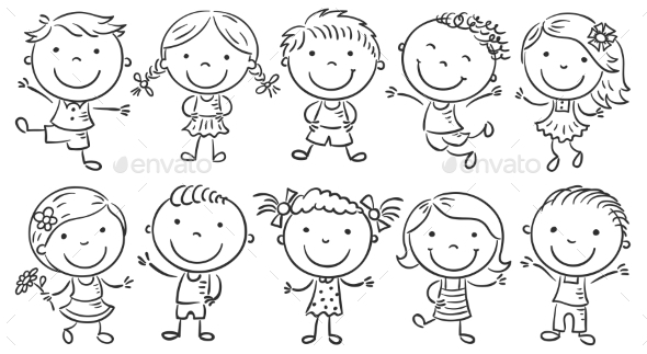 Ten Happy Cartoon Kids - People Characters
