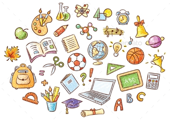 Set of Simple Cartoon School Things - Man-made Objects Objects