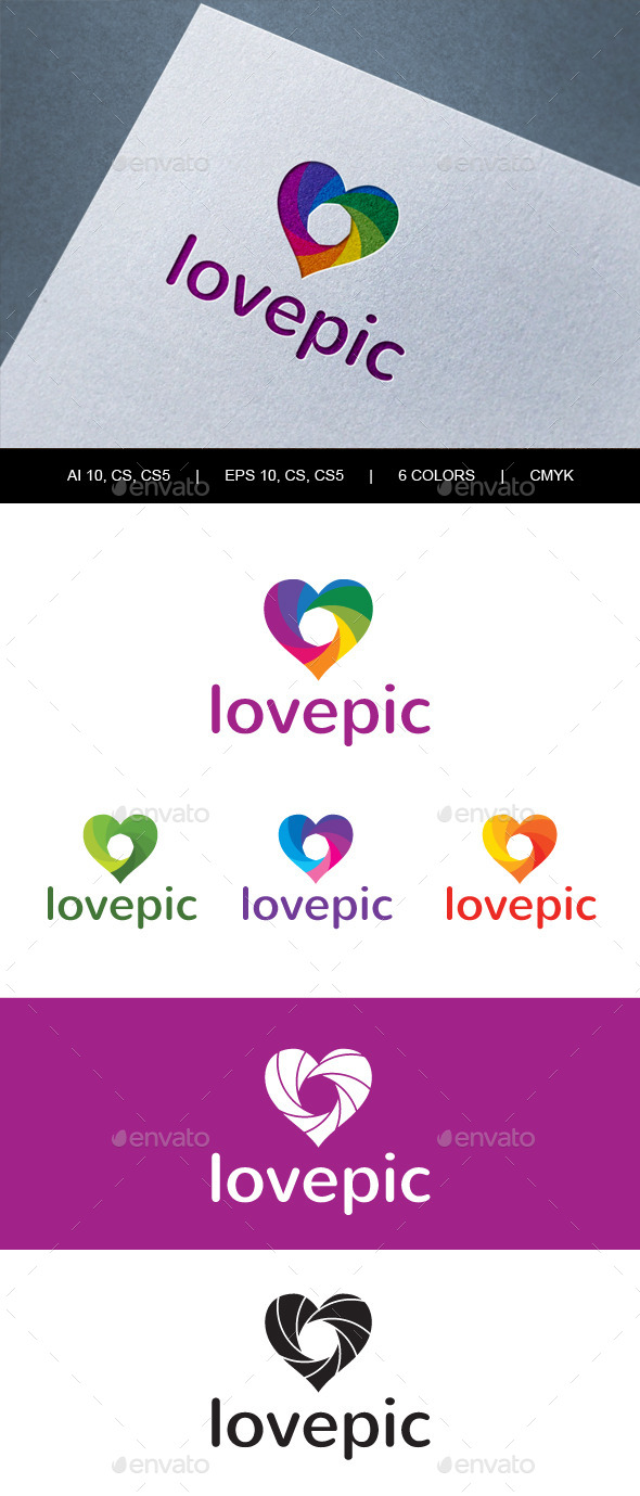 Lovepic Abstract Heart Photography Logo - Abstract Logo Templates