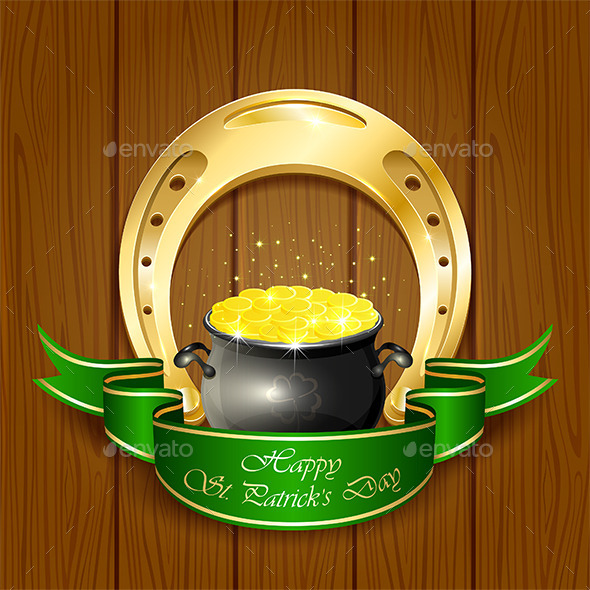 Horseshoe and Pot with Golden Coins - Miscellaneous Conceptual