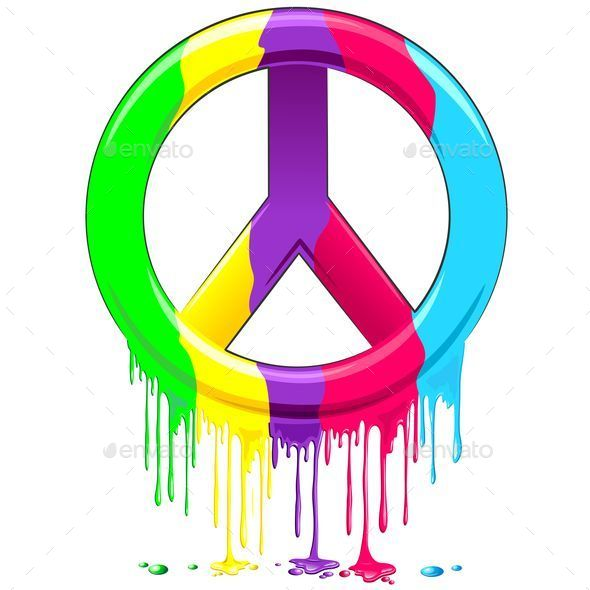 Peace Symbol Dripping Rainbow Paint - Abstract Conceptual