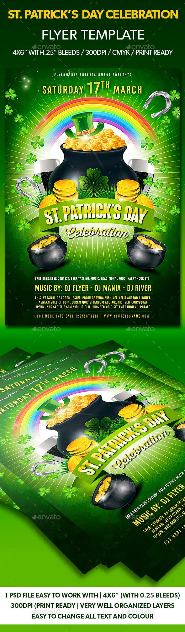 St. Patrick's Day Celebration Flyer Template - Flyers Print Templates