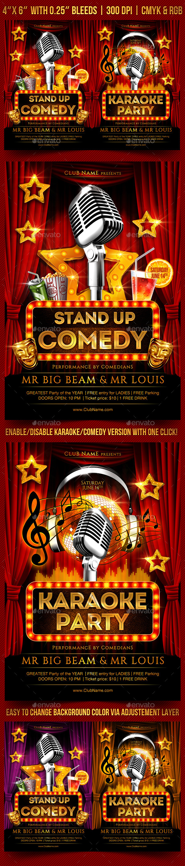 Comedy and Karaoke Flyer Template - Clubs & Parties Events