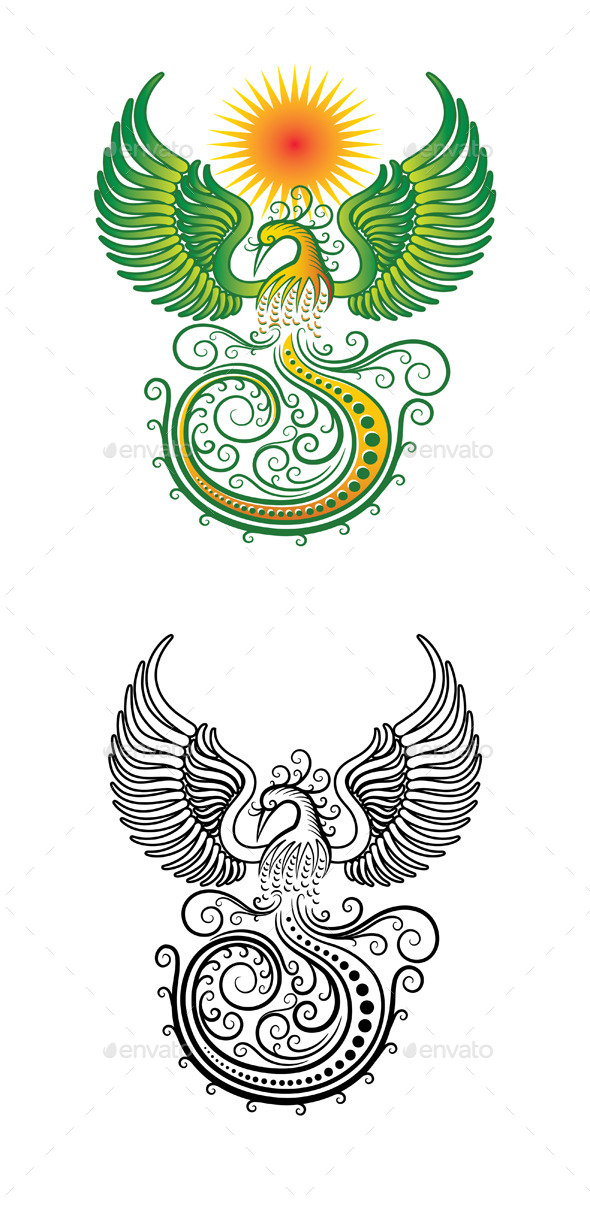 Phoenix Tribal Vector - Animals Characters
