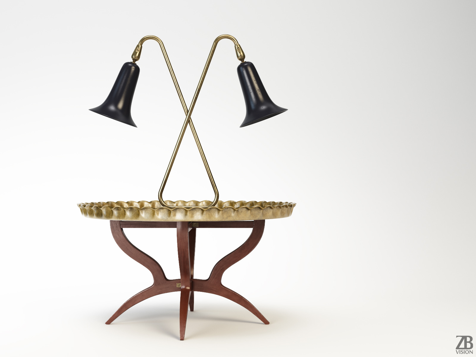 Moroccan Tray Table and Tulip Lamp