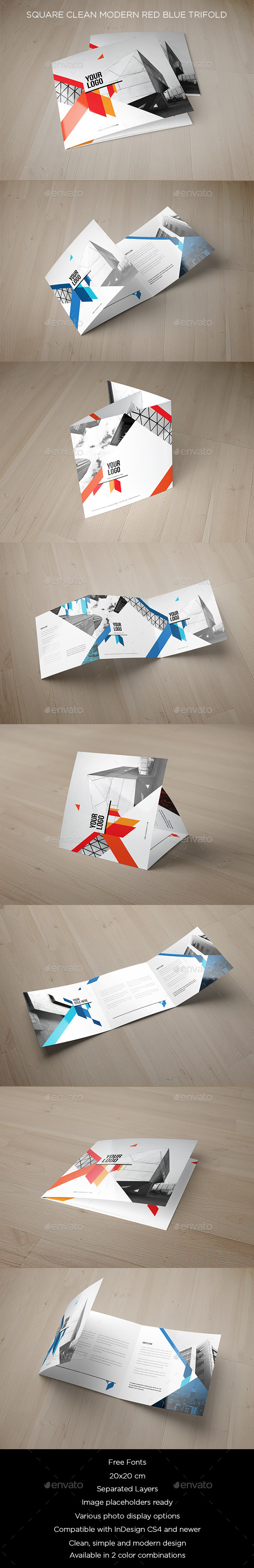 Square Clean Modern Red Blue Brochure - Brochures Print Templates