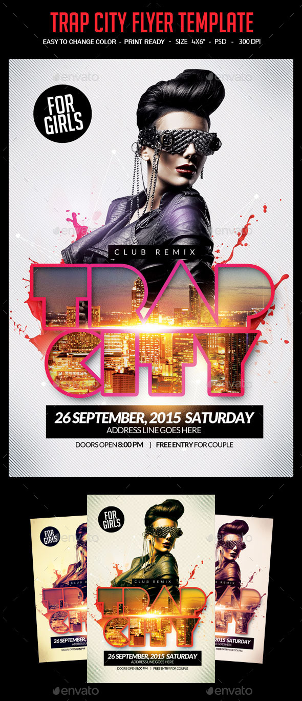 Trap City Flyer Template - Clubs & Parties Events