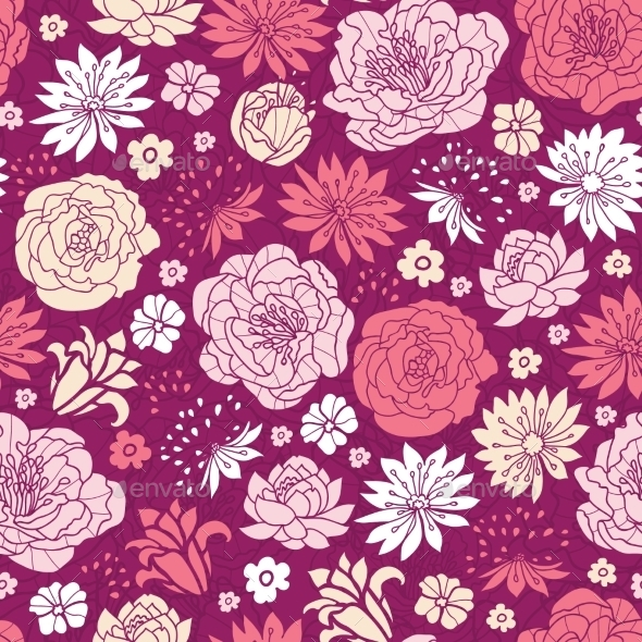 Purple Pink Flower Seamless Pattern - Patterns Decorative