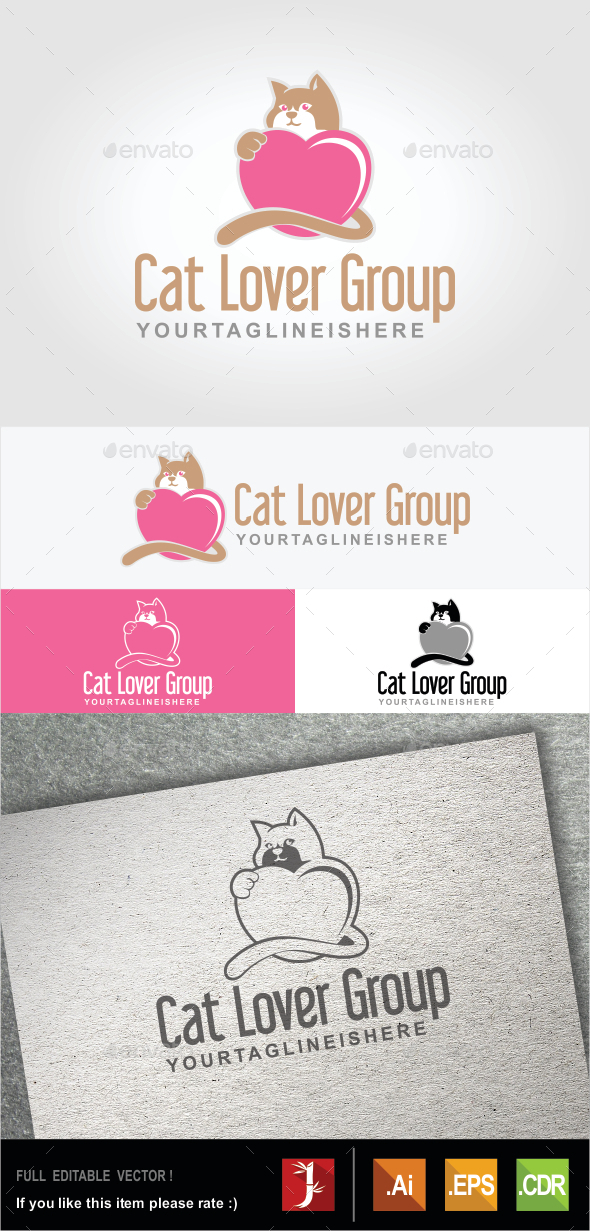 Cat Lover Group - Animals Logo Templates