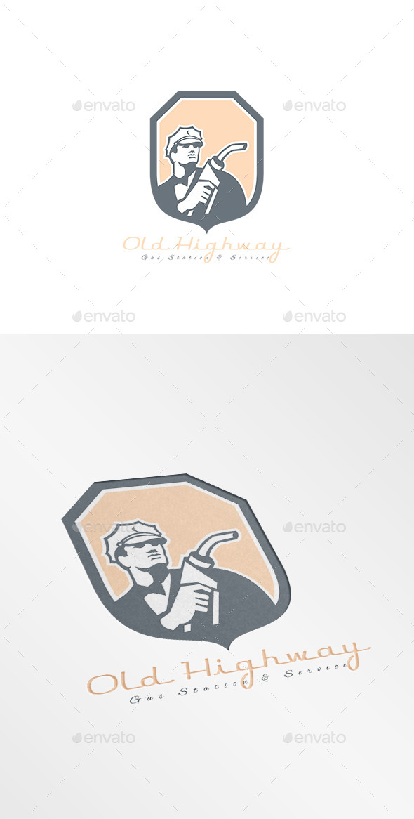 Old Highway Gasoline Station Logo - Humans Logo Templates