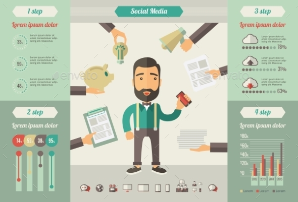 Social Media Infographic Elements. - Web Technology