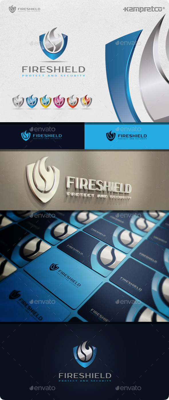 Fire Shield Logo - 3d Abstract