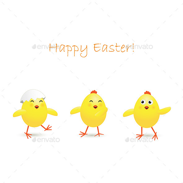 Three Easter Chicken - Animals Characters