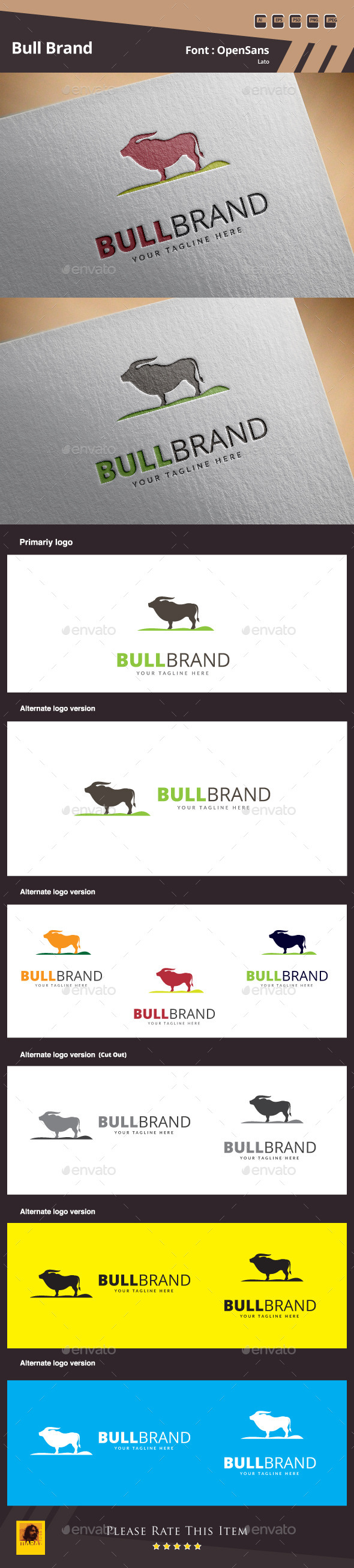 Bull Brand Logo Template - Animals Logo Templates