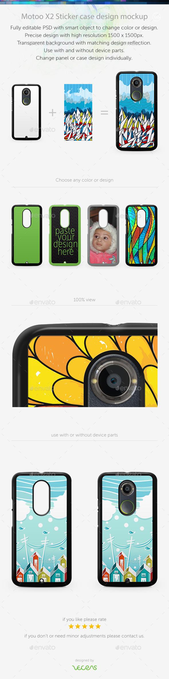 Motoo X2 Sticker Case Design Mockup - Mobile Displays