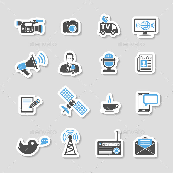 Media and News Icons Sticker Set - Web Elements Vectors