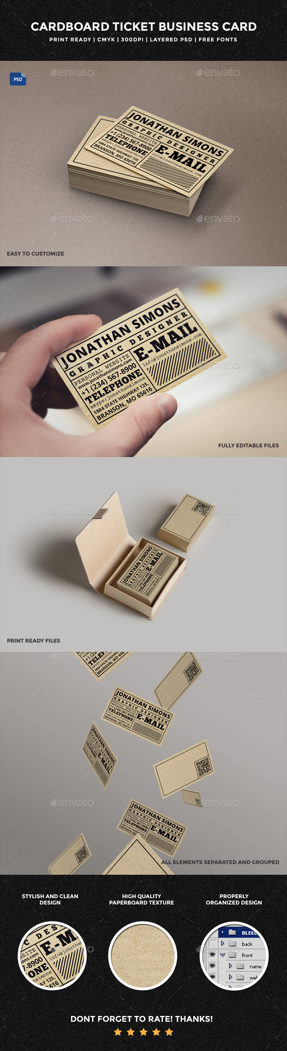 Cardboard Ticket Business Card - 30 - Creative Business Cards