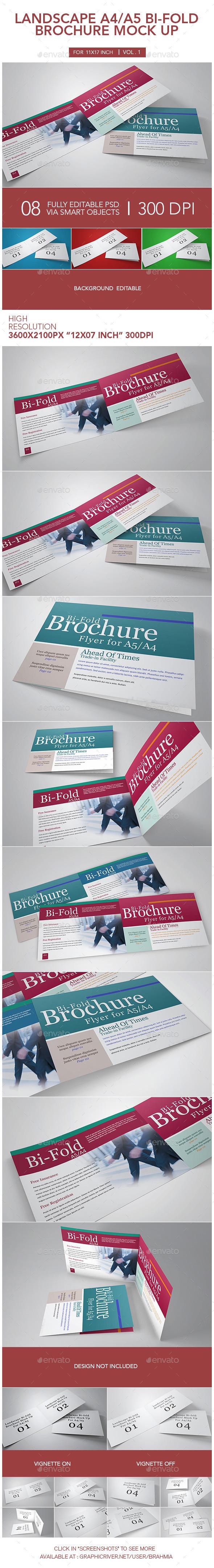 Landscape A4_A5 Bi-fold Brochure Mock Up - Brochures Print