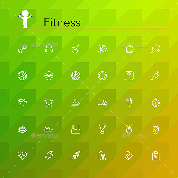 Fitness Line Icons - Miscellaneous Icons