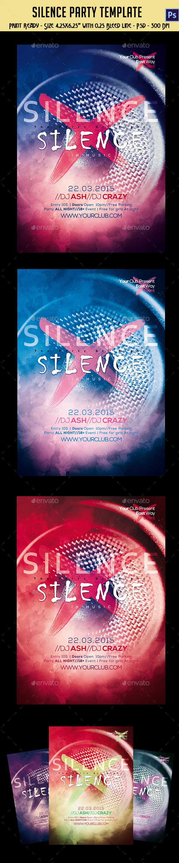 Silence Party Flyer Template - Clubs & Parties Events
