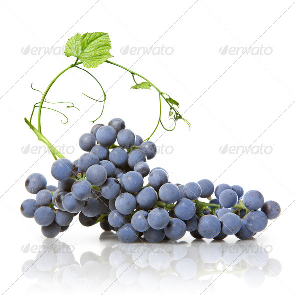 blue grape with green leaf isolated on white - Stock Photo - Images