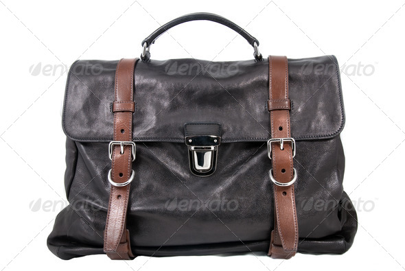 luxury black leather male travel bag isolated on white - Stock Photo - Images