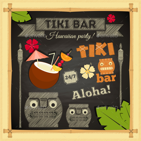 Tiki Bar Hawaii Chalkboard - Travel Conceptual