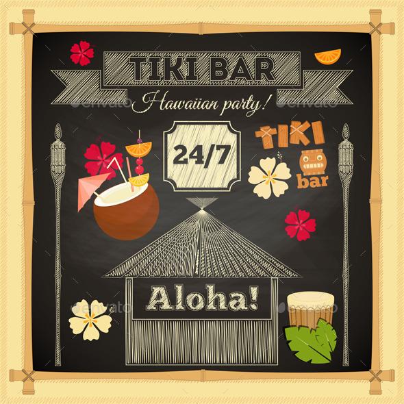 Tiki Bar Hawaii Chalkboard - Travel Conceptual