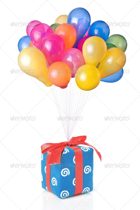 color balloons with gift isolated on white - Stock Photo - Images