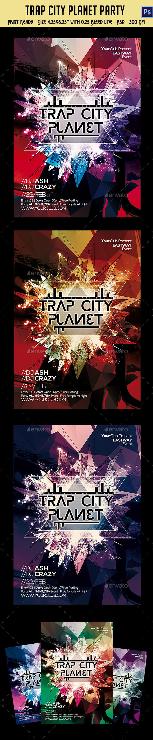 Trap City Planet Party Template - Clubs & Parties Events