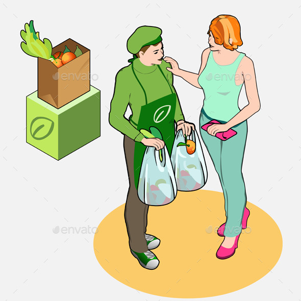 Isometric Greengrocer Shop - Owner and Customer - People Characters