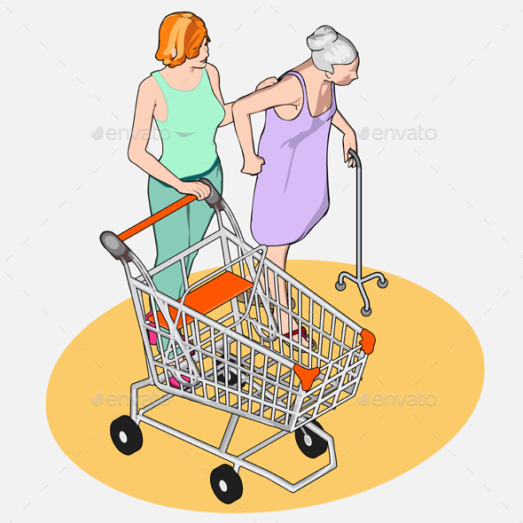 Isometric Shopping - Adult and Senior Women - People Characters