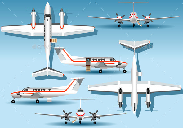 Orthogonal Views of a Landed Airplane - Objects Vectors