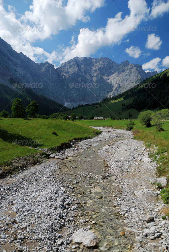 Alpine riverbed - Stock Photo - Images
