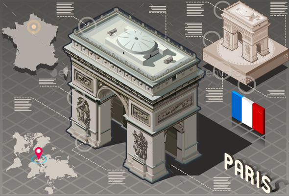 Isometric Infographic Arc de Triomphe in Paris - Buildings Objects