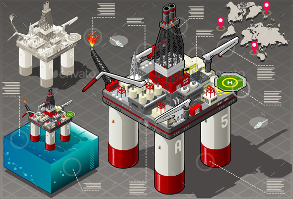 Isometric Infographic Rig Energy Set - Buildings Objects