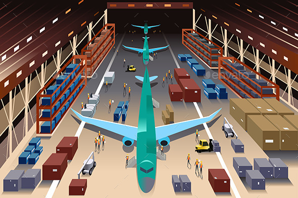 Workers in an Airplane Factory - Business Conceptual