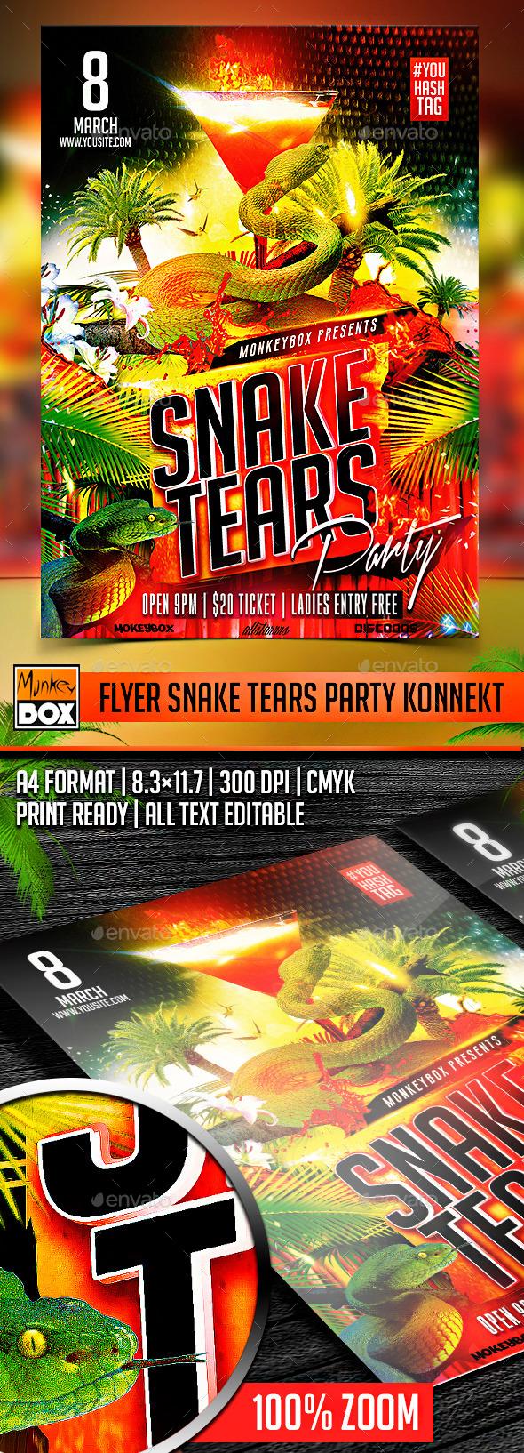 Flyer Snake Tears Party Konnekt - Events Flyers