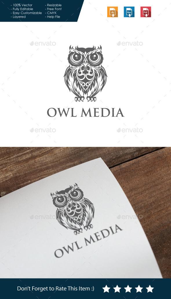 Owl Media Logo - Animals Logo Templates