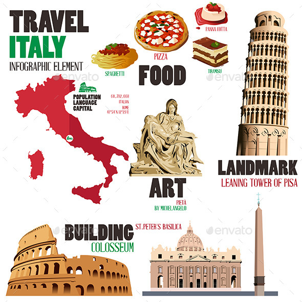 Infographic Elements for Traveling to Italy - Travel Conceptual