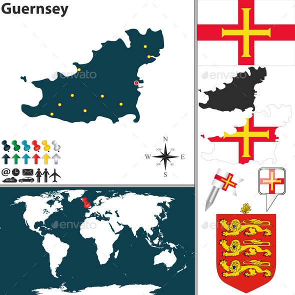 Map of Guernsey - Travel Conceptual